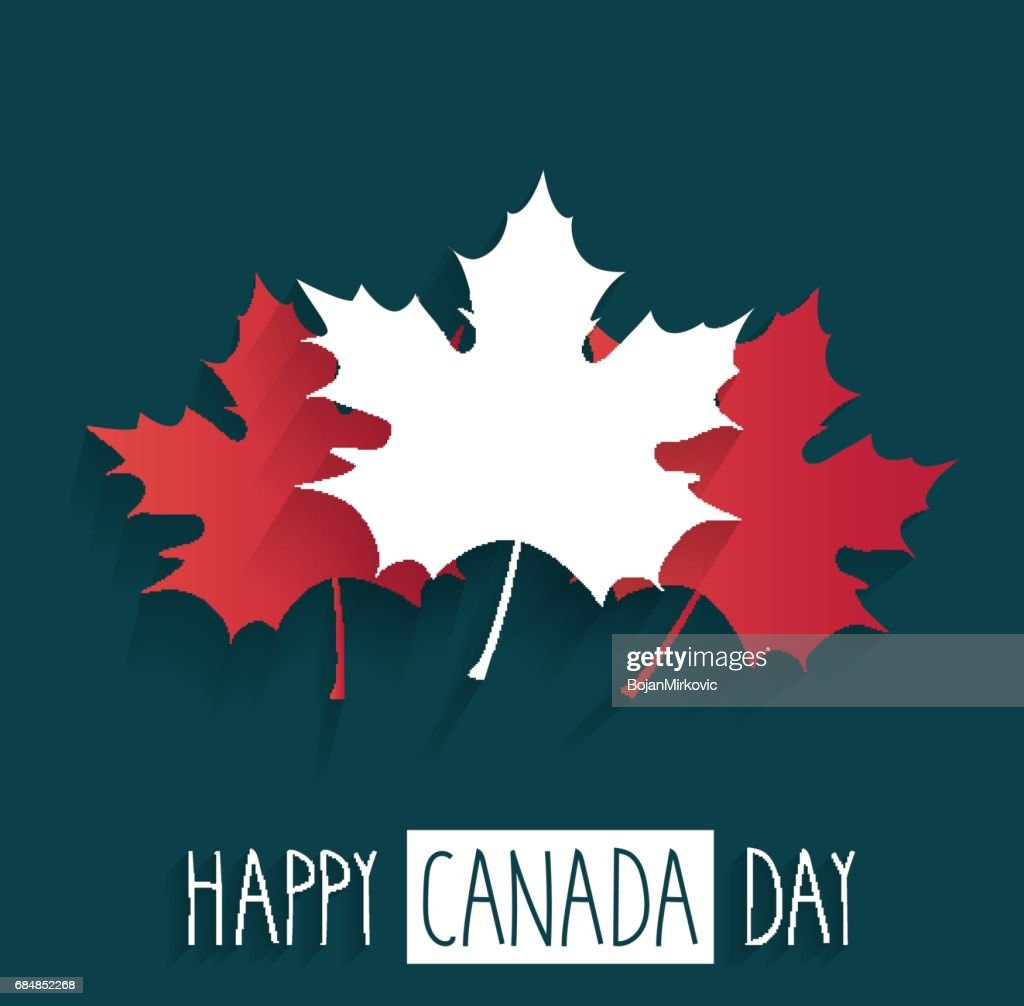 Happy Canada Day poster on blue background with handwritten text