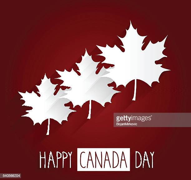 happy canada day red background with maple leafs. handwritten text - canada day stock illustrations