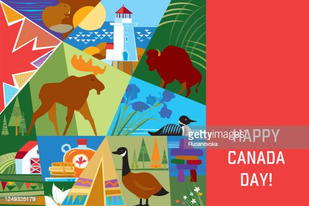 happy canada day! - canada day stock illustrations
