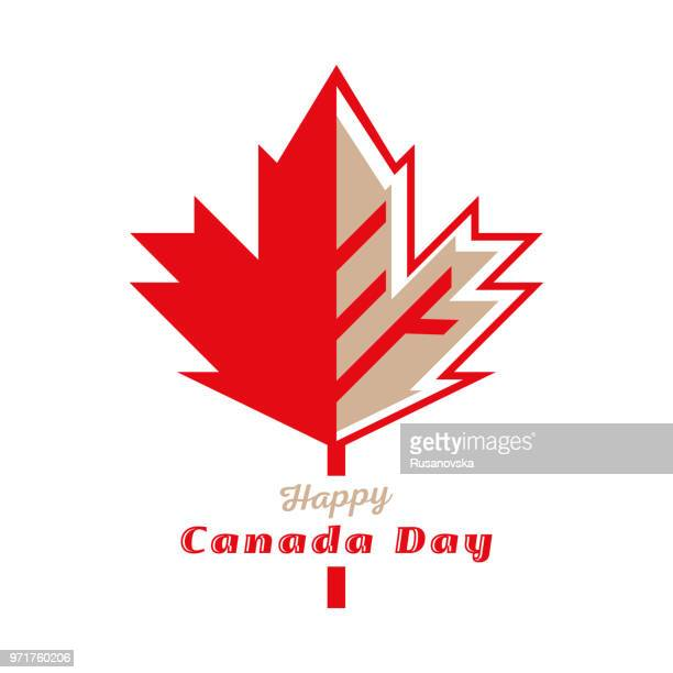happy canada day - maple leaf stock illustrations