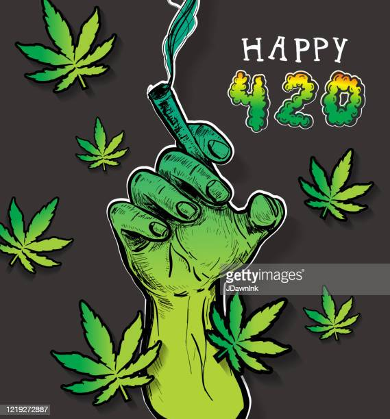 happy cannabis 420 celebration greeting design with hand holding a joint - marijuana leaf stock illustrations