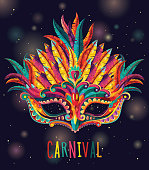 Happy carnival festive concept with musical trumpet mask. Carnival mask. Vector illustration