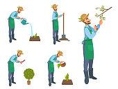 Happy cartoon bearded man watering, cut, treat, sprays, harvests, gardening, cultivate.
