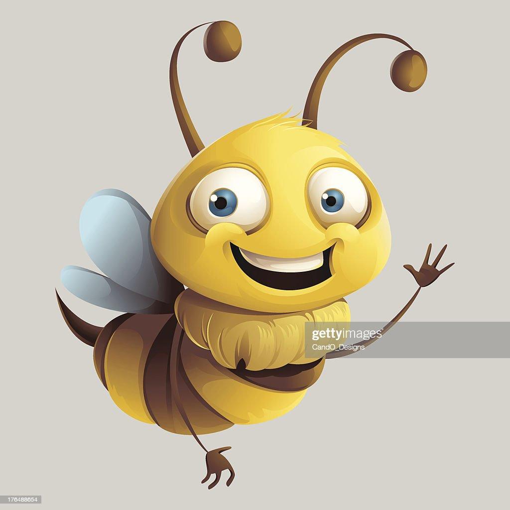 Happy cartoon bee waving and smiling