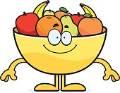 Happy Cartoon Bowl of Fruit