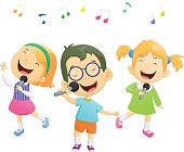 Happy cartoon boys and girls singing