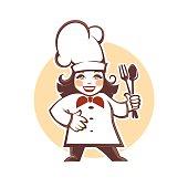 happy cartoon chef, vector illustration.