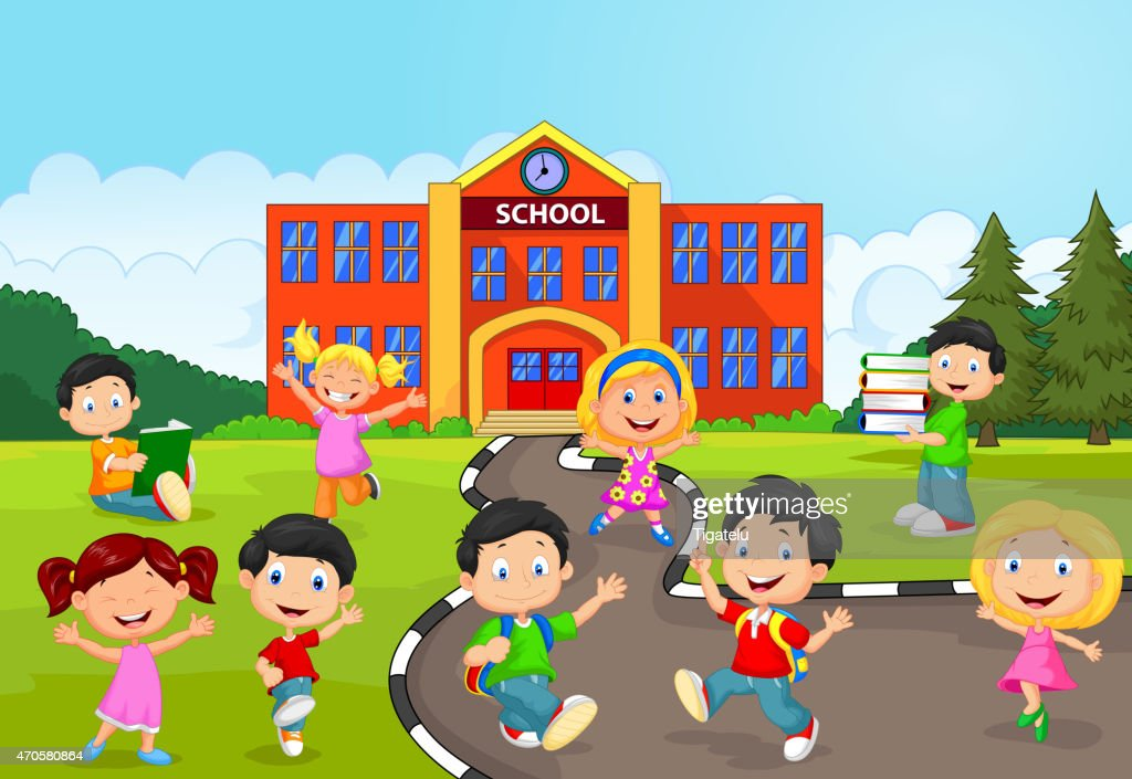 Happy cartoon children in front of a school