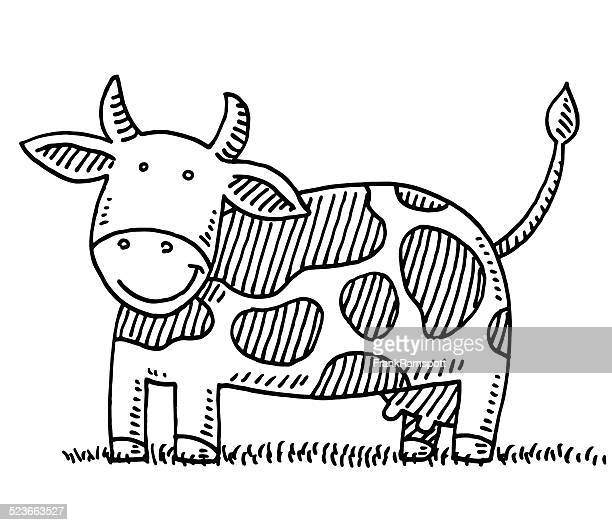 happy cartoon cow drawing - one animal stock illustrations