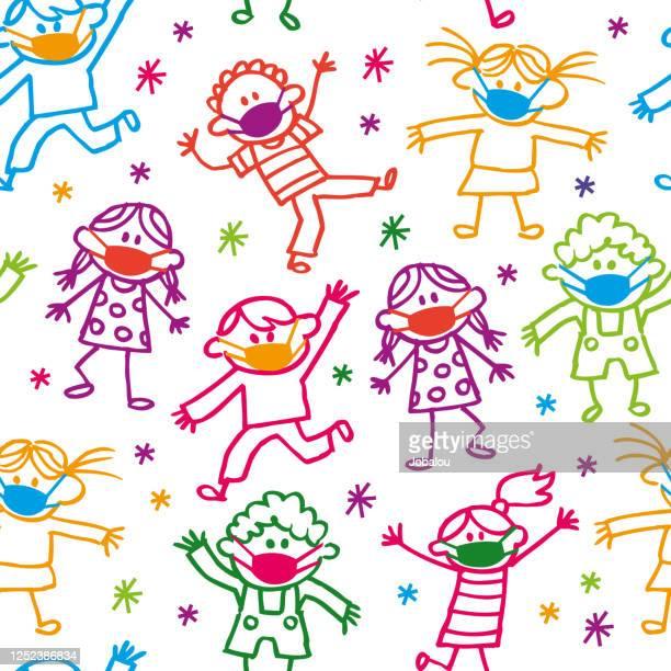 顔のマスクを持つハッピー漫画落書きの子供たち - パンデミック点のイラスト素材/クリップアート素材/マンガ素材/アイコン素材