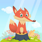 Happy cartoon fox character. Vector illustration of fox isolated on colorful forest background with flowers and mushrooms on the meadow and sky