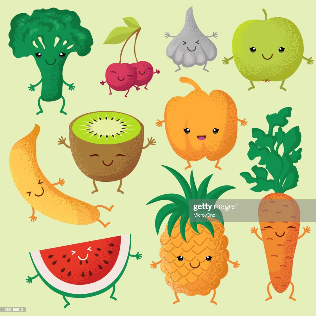 Happy cartoon fruits and garden vegetables with funny cute faces vector characters