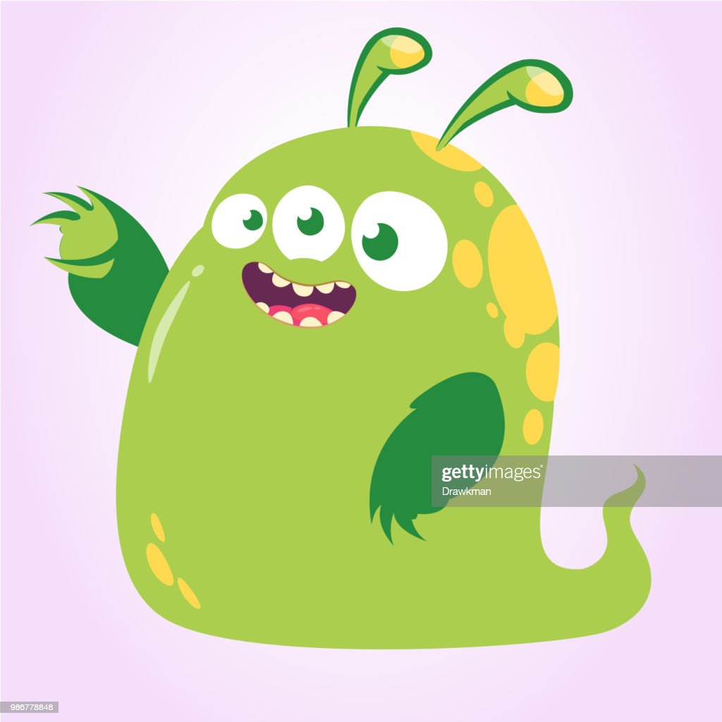 Happy cartoon green three eyed monster. Vector illustration isolated. Halloween design