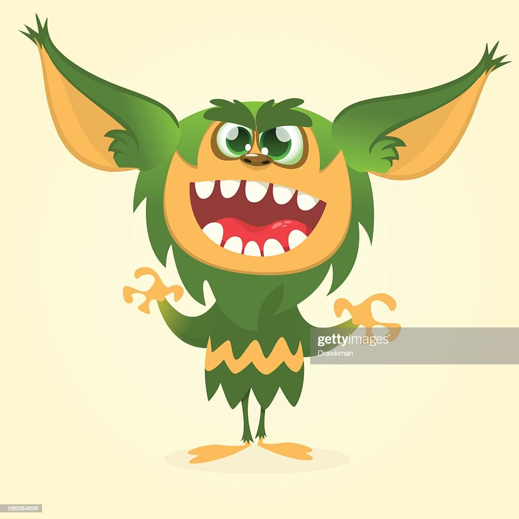 Happy cartoon gremlin monster. Halloween vector goblin or troll