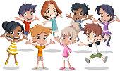 happy cartoon kids jumping.