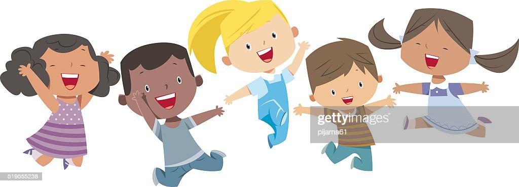 Happy Cartoon Kids : Vector Art