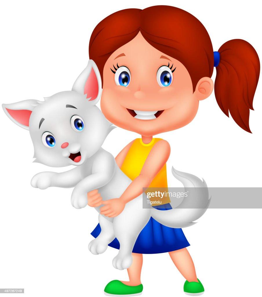 Happy cartoon little girl hugging her pet
