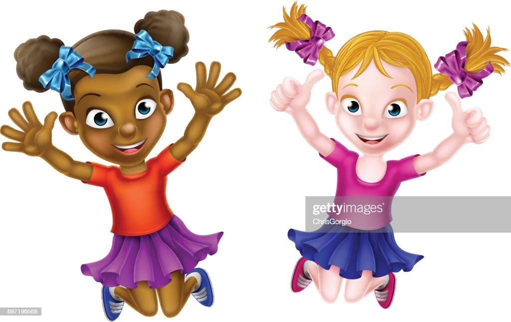 Happy Cartoon Little Girls