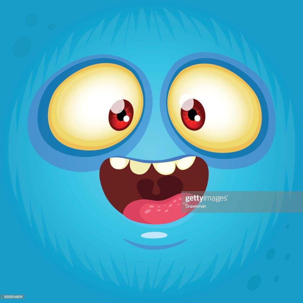 happy cartoon monster face avatar halloween illustration prints