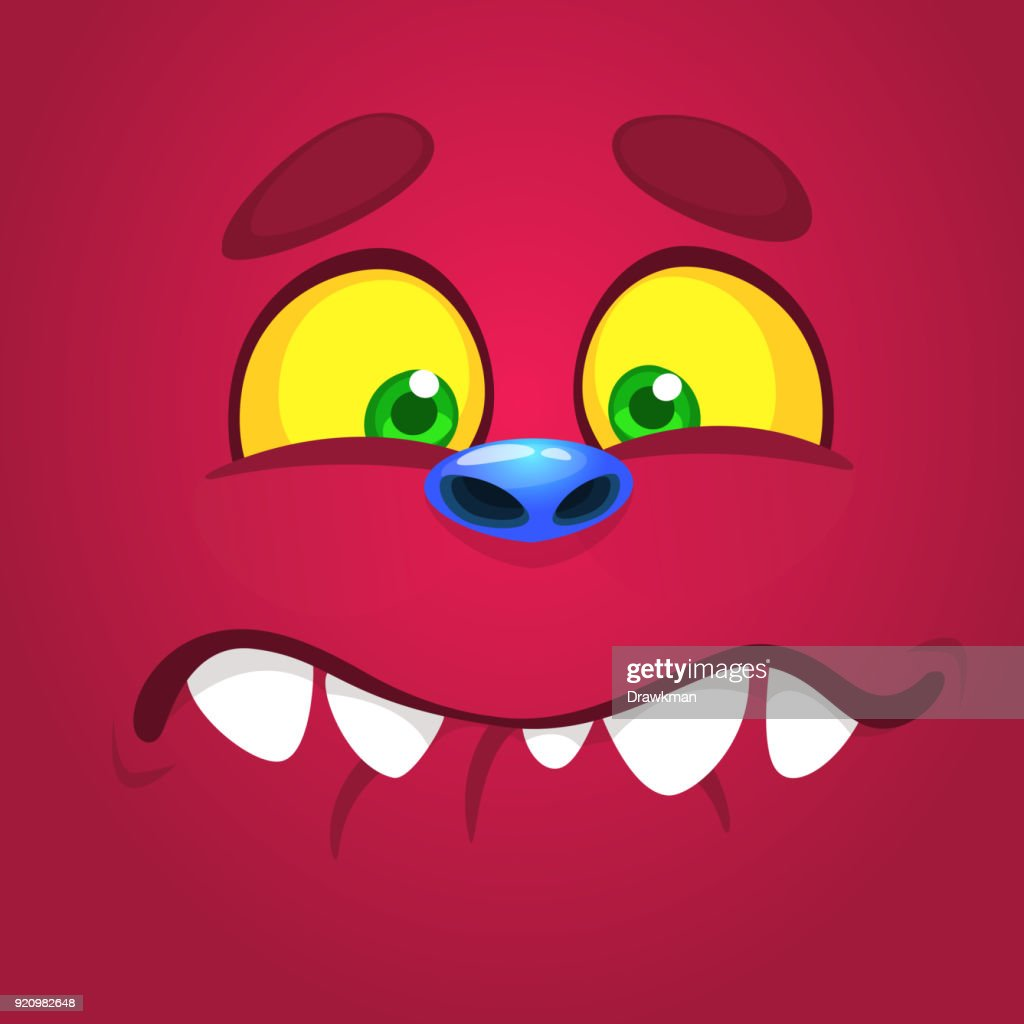 Happy cartoon monster face with a big smile. Vector Halloween pink monster illustration