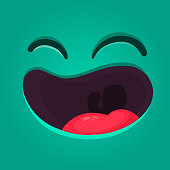 Happy cartoon monster face with no teeth. Vector Halloween laughing monster with big mouth