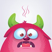 Happy cartoon monster. Vector Halloween pink furry monster troll