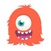 Happy cartoon one eyed monster. Vector Halloween illustration. Big set of cartoon monsters