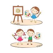 Happy cartoon painters