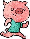 happy cartoon pig running