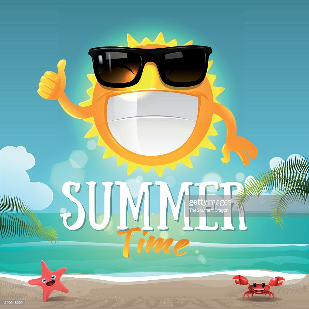 Happy cartoon sun character with sunglasses on summer background