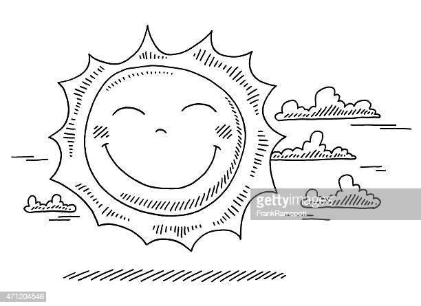 ilustraciones, imágenes clip art, dibujos animados e iconos de stock de feliz de dibujos animados de sol dibujo - sol en la cara