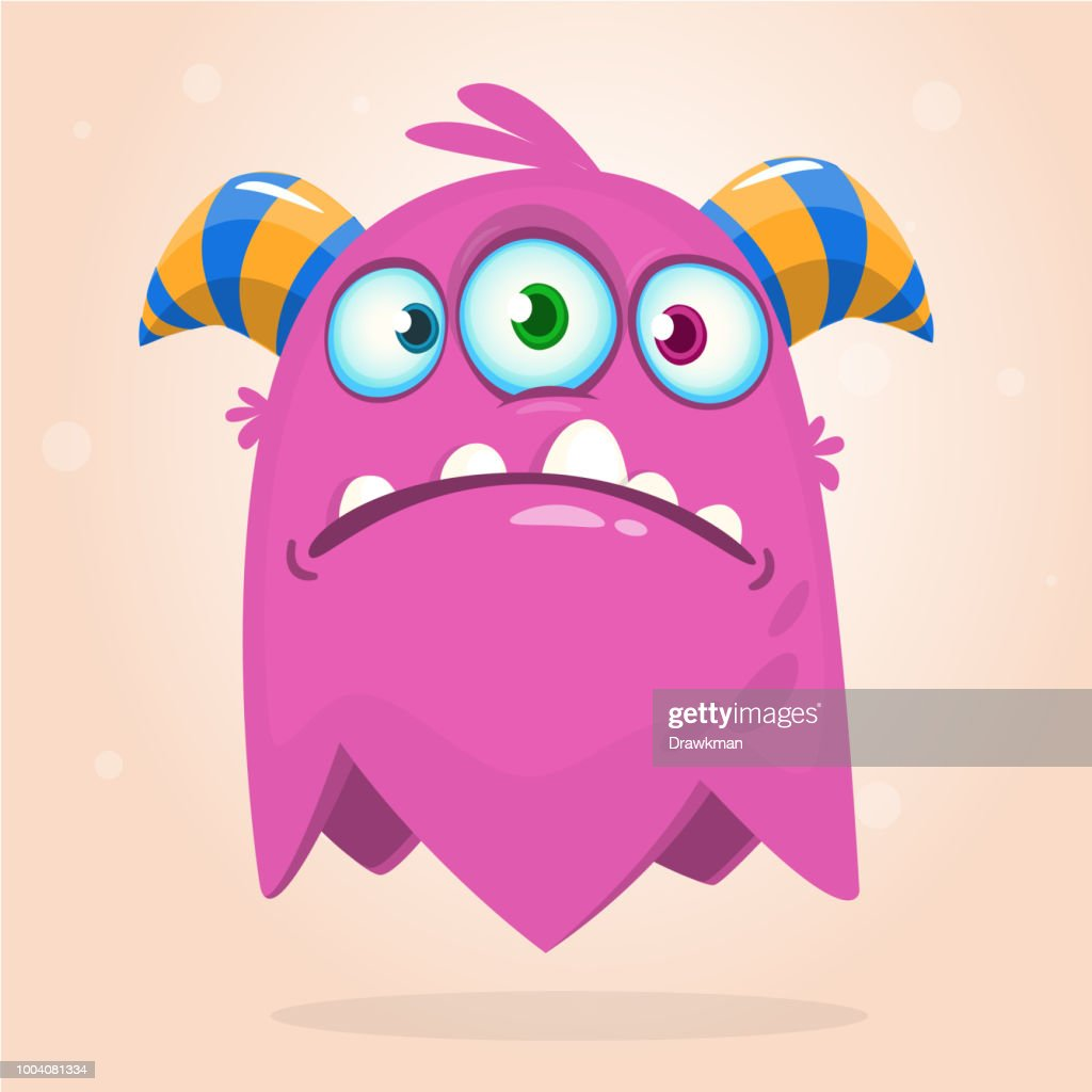 Happy cartoon three eyed alien character icon. Halloween vector illustration. Clipart