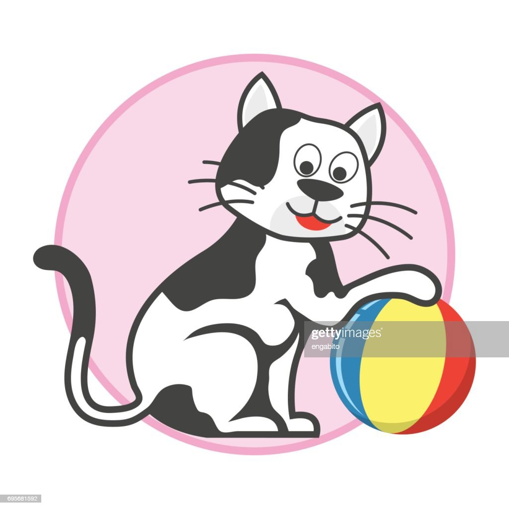 happy cat playing a ball / pet toys accessories. vector illustration