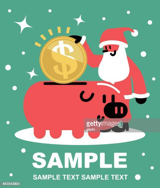 happy cheerful santa claus putting a large dollar sign coin currency into a piggy bank, christmas present - christmas cash stock illustrations