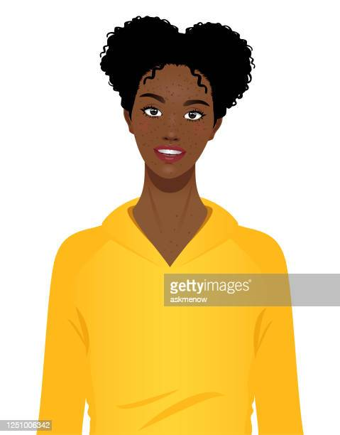 happy cheerful young black girl portrait - one teenage girl only stock illustrations