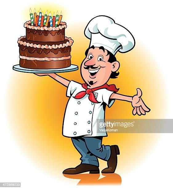 幸せなシェフの手のバースデーケーキ