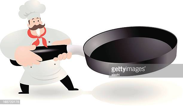 ilustrações, clipart, desenhos animados e ícones de feliz chef segurando o grill pan - frito