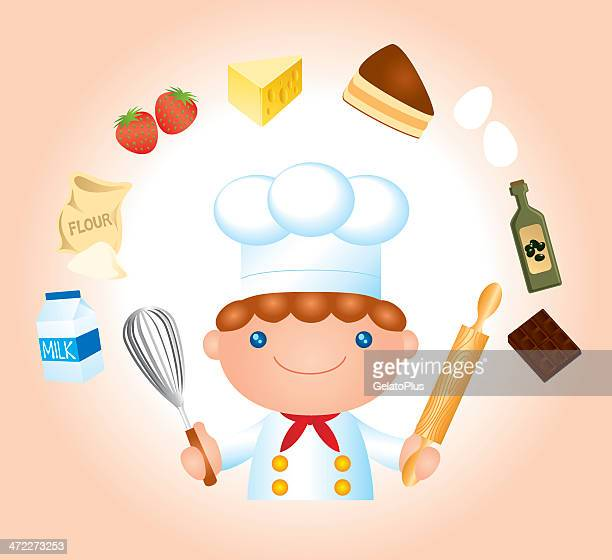 happy chef with food - milk chocolate stock illustrations, clip art, cartoons, & icons