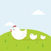 happy chicken family in field