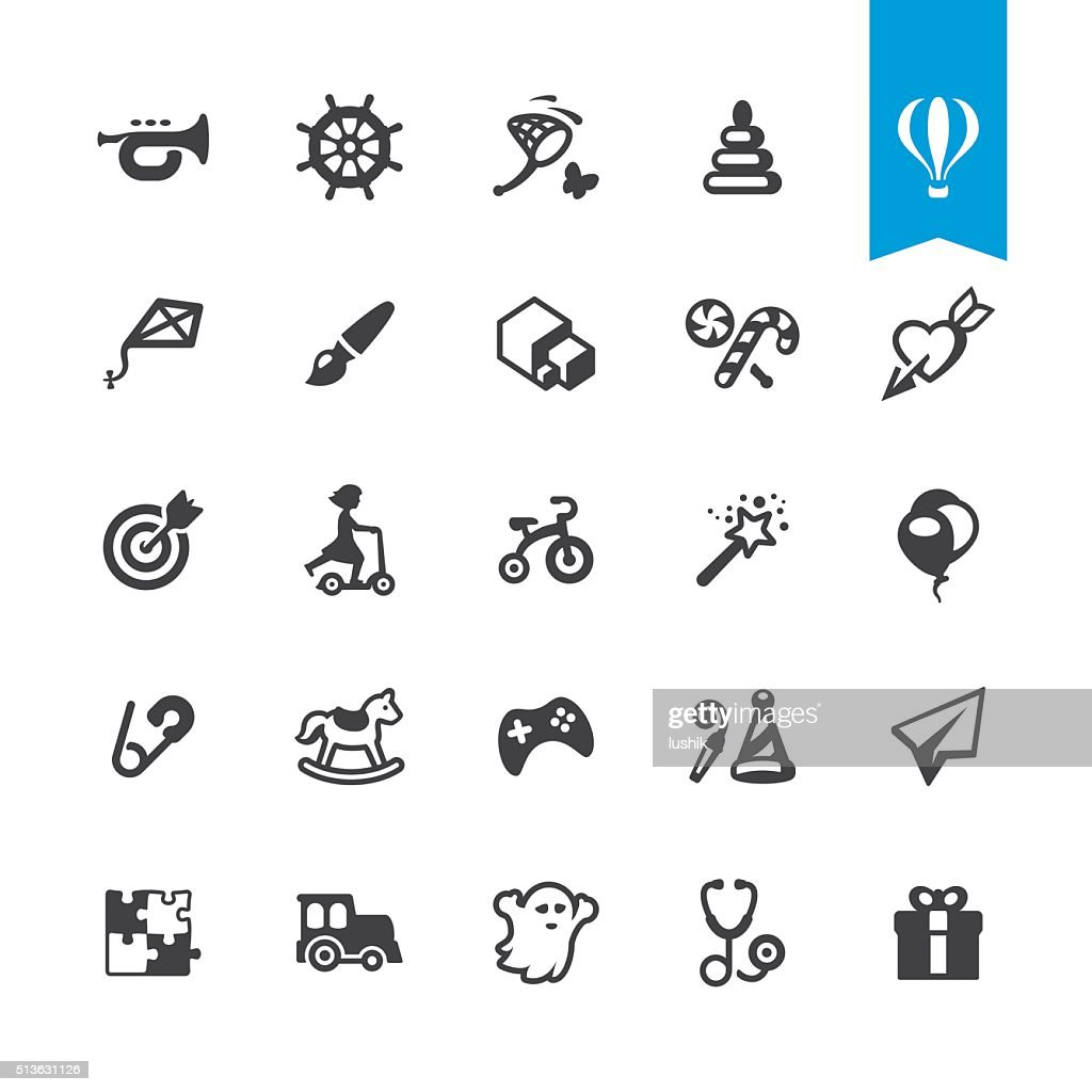 Happy childhood and toys vector icons