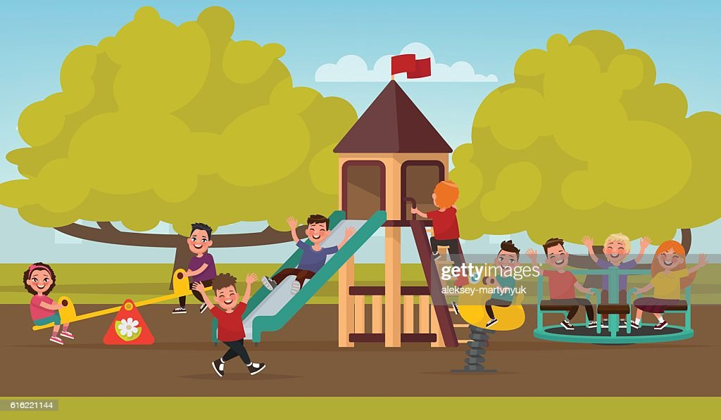 Happy childhood. Children on the playground swinging on a swing : Vector Art