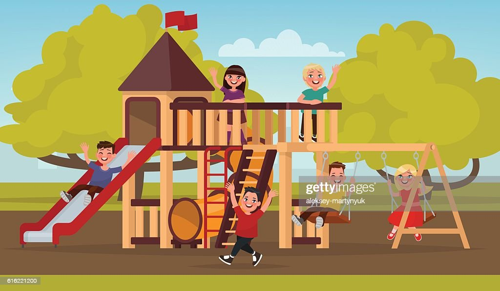 Happy childhood. Children play on the playground. Vector illustr : Vector Art