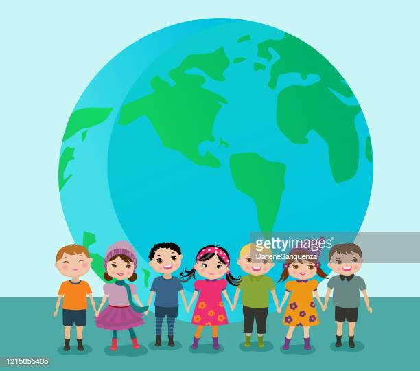 ilustrações de stock, clip art, desenhos animados e ícones de happy children across the globe holding hands together. - onu