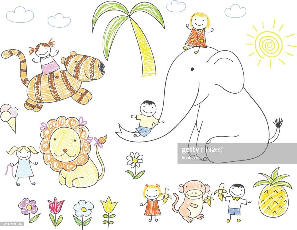 Happy children and animals