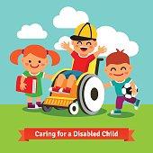 Happy children are walking with kid on wheelchair