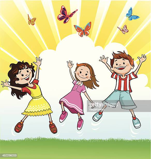 happy children chasing the butterflies - school yard stock illustrations, clip art, cartoons, & icons