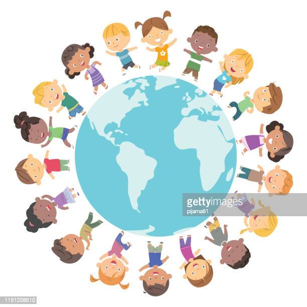 happy children frame - earth day stock illustrations