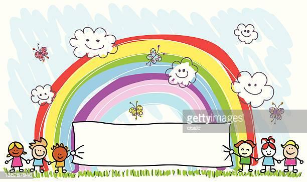 ilustrações, clipart, desenhos animados e ícones de crianças felizes amigos segurando vazio, banner, primavera, verão cartoon ilustração - segurando