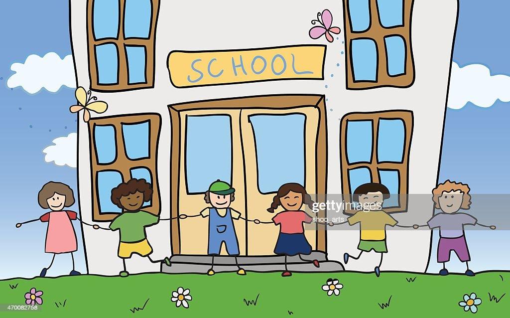 happy children holding for hands near school vector