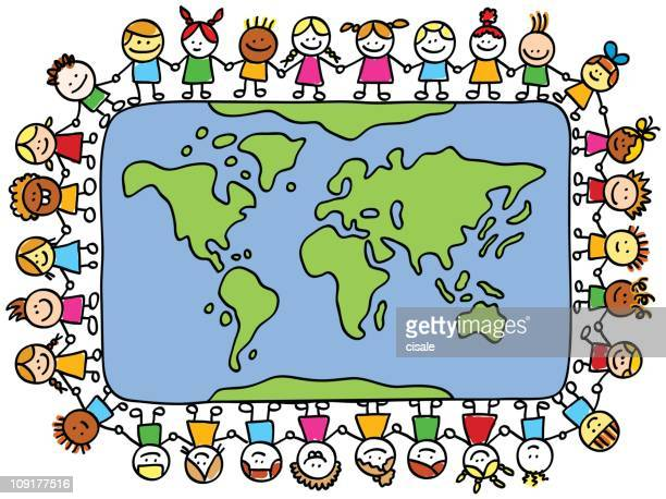 happy children holding hands around world map cartoon